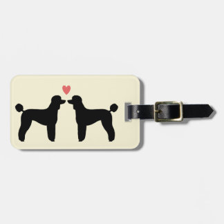 Black Standard Poodle Silhouettes with Heart Luggage Tag