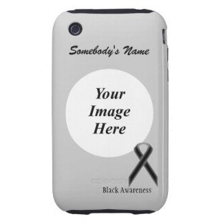 Black Standard Ribbon Template Tough iPhone 3 Cover