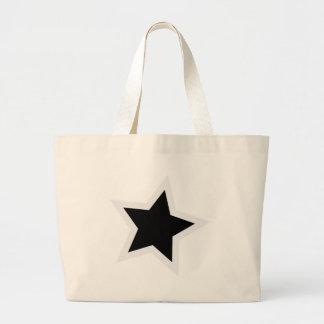Black Star Bold White Outline Large Tote Bag