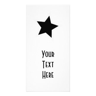Black Star Bold White Outline Customized Photo Card