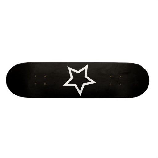 Black Star Bold White Outline Skate Board