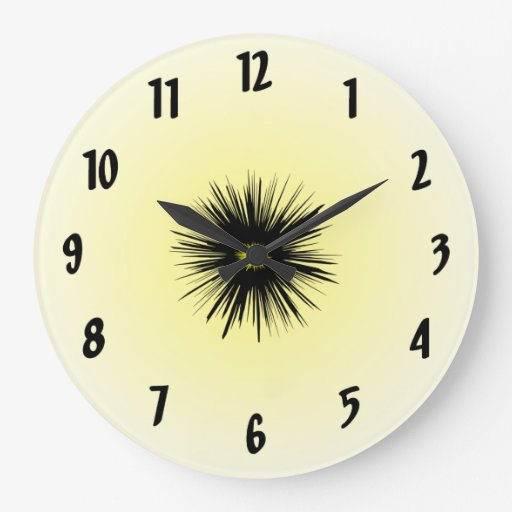 Black Star Flower Abstract Clock