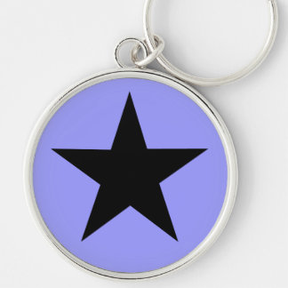 Black Star Silver-Colored Round Key Ring