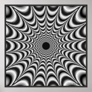 Black Star Radiating Energy Poster