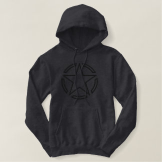 Black Star Vintage Tag Decal Outline Embroidery Embroidered Hoodie