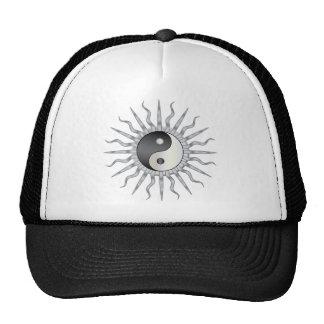 Black Starburst Yin Yang Mesh Hat