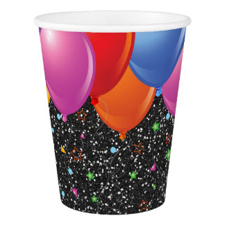 Black Starry Glitter Image Party Paper Cups