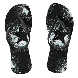 Black Stars Flip Flops