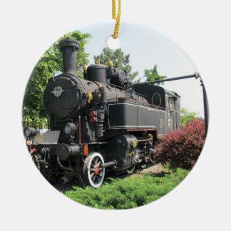 Black Steam Engine Train Ornament