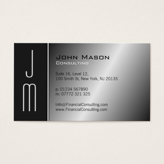 Black & Steel Monogram Professional Business Card