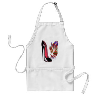 Black Stiletto High Heel Shoe and Bouquet Standard Apron