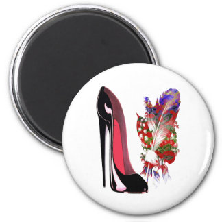 Black Stiletto High Heel Shoe and Bouquet Magnet