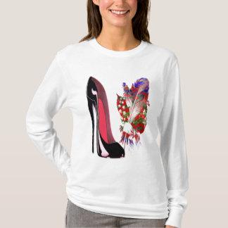 Black Stiletto High Heel Shoe and Bouquet T-Shirt