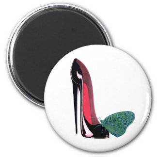 Black Stiletto High Heel Shoe and Green Butterfly 6 Cm Round Magnet