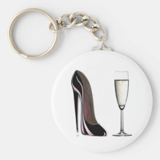 Black Stiletto Shoe and Champagne Glass Basic Round Button Key Ring