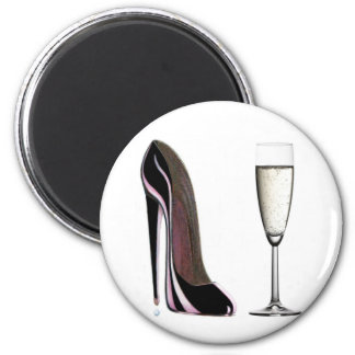 Black Stiletto Shoe and Champagne Glass Magnet