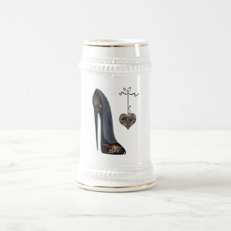 Black stiletto shoe and heart beer stein