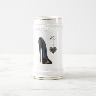 Black Stiletto Shoe and Heart Beer Stein