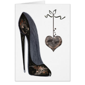 Black stiletto shoe and heart greeting card