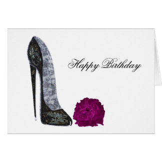 Black stiletto shoe and red rose art card