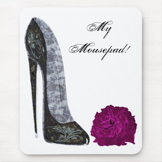 Black Stiletto Shoe and Red Rose Art Mouse Mat