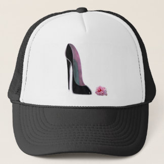 Black Stiletto Shoe and Rose Trucker Hat