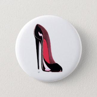 Black Stiletto Shoe Art 6 Cm Round Badge