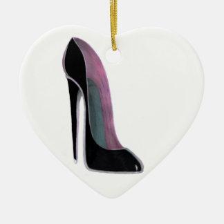Black stiletto shoe heart ornament