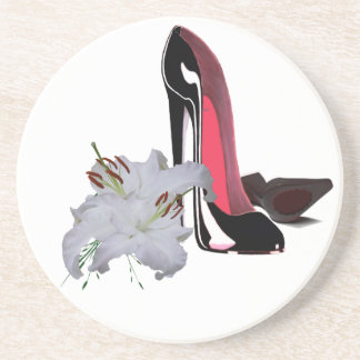 Black Stiletto Shoes and Lilies Art Coaster