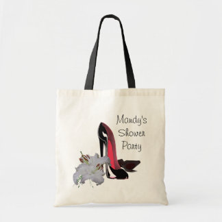 Black Stiletto Shoes and Lilies Tote Bag