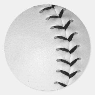 Black Stitches Baseball/Softball Classic Round Sticker