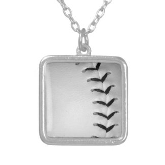 Black Stitches Baseball/Softball Silver Plated Necklace