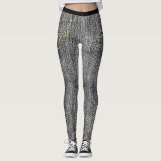Black Stonewashed Denim Skinny Jeans Leggings