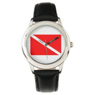 Black Strap Dive Flag Watch