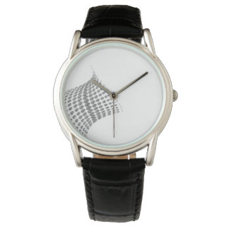 Black strapped watch with diamond image.