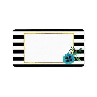 Black Stripe & Blue Floral Address Labels