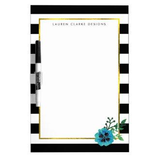 Black Stripe & Blue Floral Dry Erase Board
