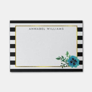Black Stripe & Blue Floral Sticky Notes Post-it® Notes