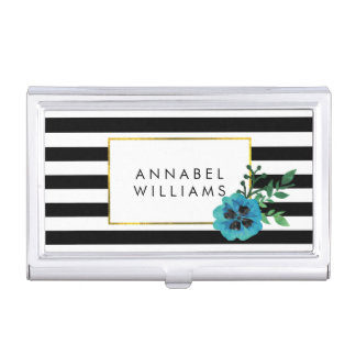 Black Stripe & Blue Flower Business Card Holder