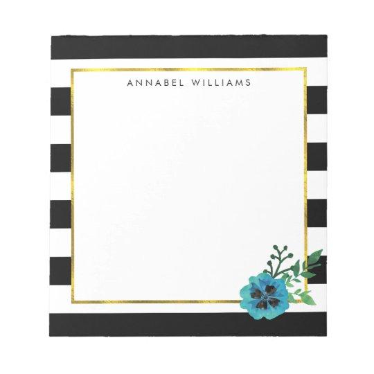 Black Stripe & Blue Flower Personalised Notepad