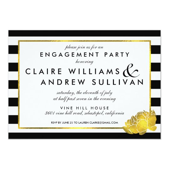 Black Stripe & Faux Gold Peony Engagement Party