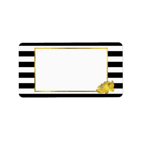 Black Stripe & Faux Gold Peony Label