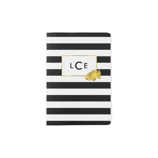 Black Stripe & Faux Gold Peony Monogram Passport