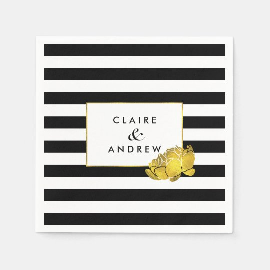 Black Stripe & Faux Gold Peony Paper Serviettes