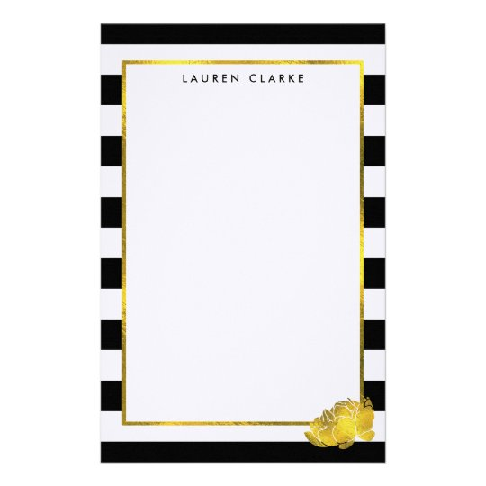 Black Stripe & Faux Gold Peony Personalised Stationery