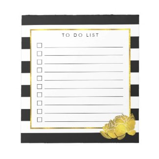 Black Stripe & Faux Gold Peony To Do List