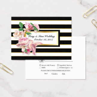 Black Stripe Floral Doves Wedding RSVP Card