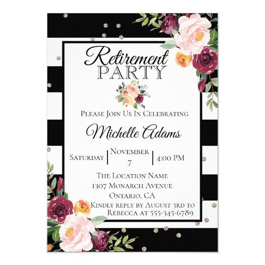 Black Stripe Floral Retirement Party Invitation