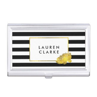 Black Stripe & Gold Peony Business Card Holder