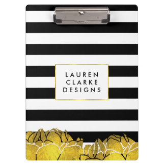 Black Stripe & Gold Peony Clipboard